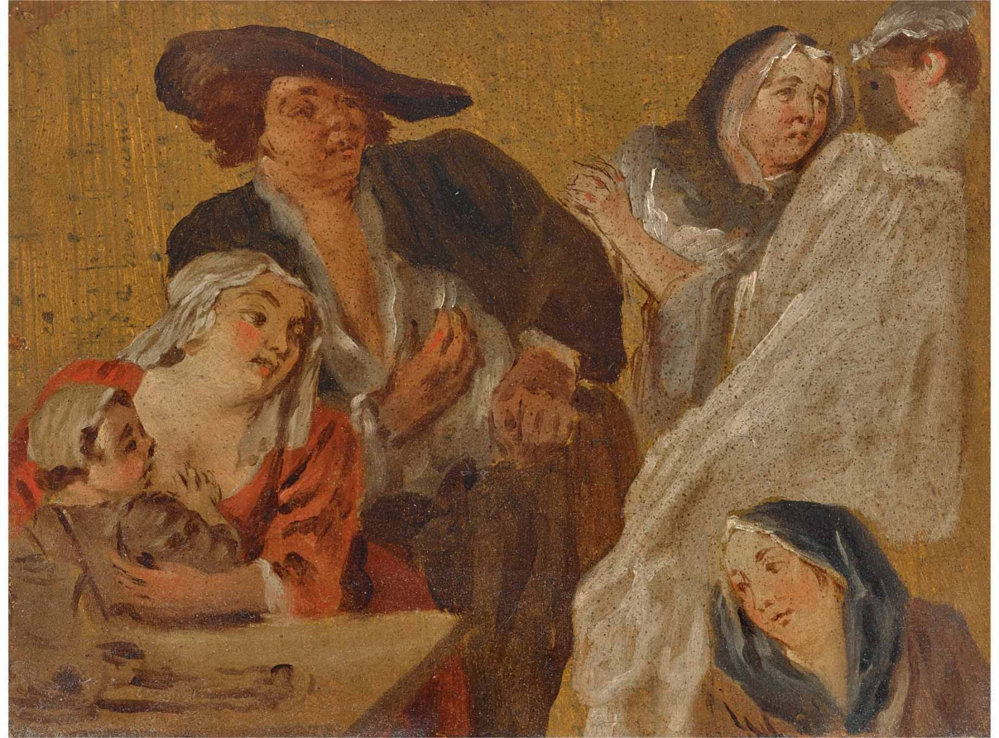 View full screen - View 1 of Lot 13. FRENCH SCHOOL, 18TH CENTURY | STUDIES OF FIGURES AROUND A TABLE, INCLUDING A MOTHER AND HER CHILD.