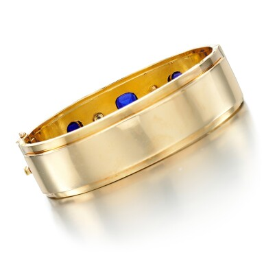 View 3. Thumbnail of Lot 61. SAPPHIRE AND PASTE BANGLE .