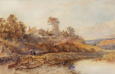 DAVID COX THE YOUNGER, A.R.W.S. | River landscape with windmill