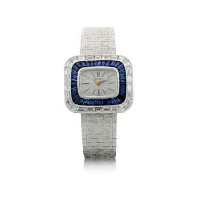 View 1. Thumbnail of Lot 98. REFERENCE 3655A6 A LADY'S WHITE GOLD BRACELET WATCH WITH DIAMOND AND SAPPHIRE-SET BEZEL, CIRCA 1970.
