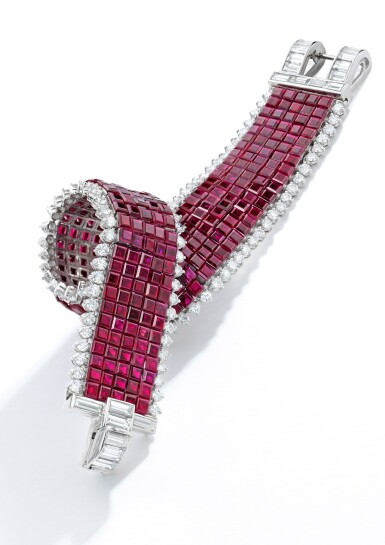 View 2. Thumbnail of Lot 79. Van Cleef & Arpels | Mystery-Set Ruby and Diamond Bracelet.