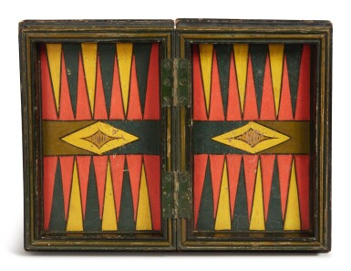 View 3. Thumbnail of Lot 1448. AMERICAN POLYCHROME PAINT-DECORATED WOODEN GAMEBOARD BOX, LATE 19TH TO EARLY 20TH CENTURY.