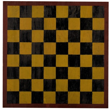 View 1. Thumbnail of Lot 1452. AMERICAN POLYCHROME-PAINTED PINE CHECKER GAMEBOARD, 20TH CENTURY  .