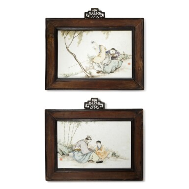 View 1. Thumbnail of Lot 19. A pair of famille-rose 'figural' plaques, Republic period, by Liu Xiren.