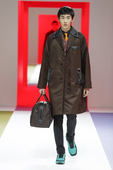 View 1. Thumbnail of Lot 63. PRADA | RE-NYLON COAT, RE-NYLON BAG, WORN BY SHAOQI ZENG. UNIQUE BAG, NOT IN THE STORES.