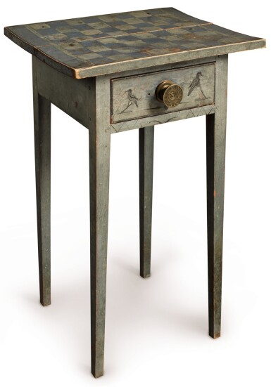 View 1. Thumbnail of Lot 1438. VERY FINE FEDERAL BLUE PAINT-DECORATED PINE ONE-DRAWER STAND, NEW ENGLAND, CIRCA 1820.