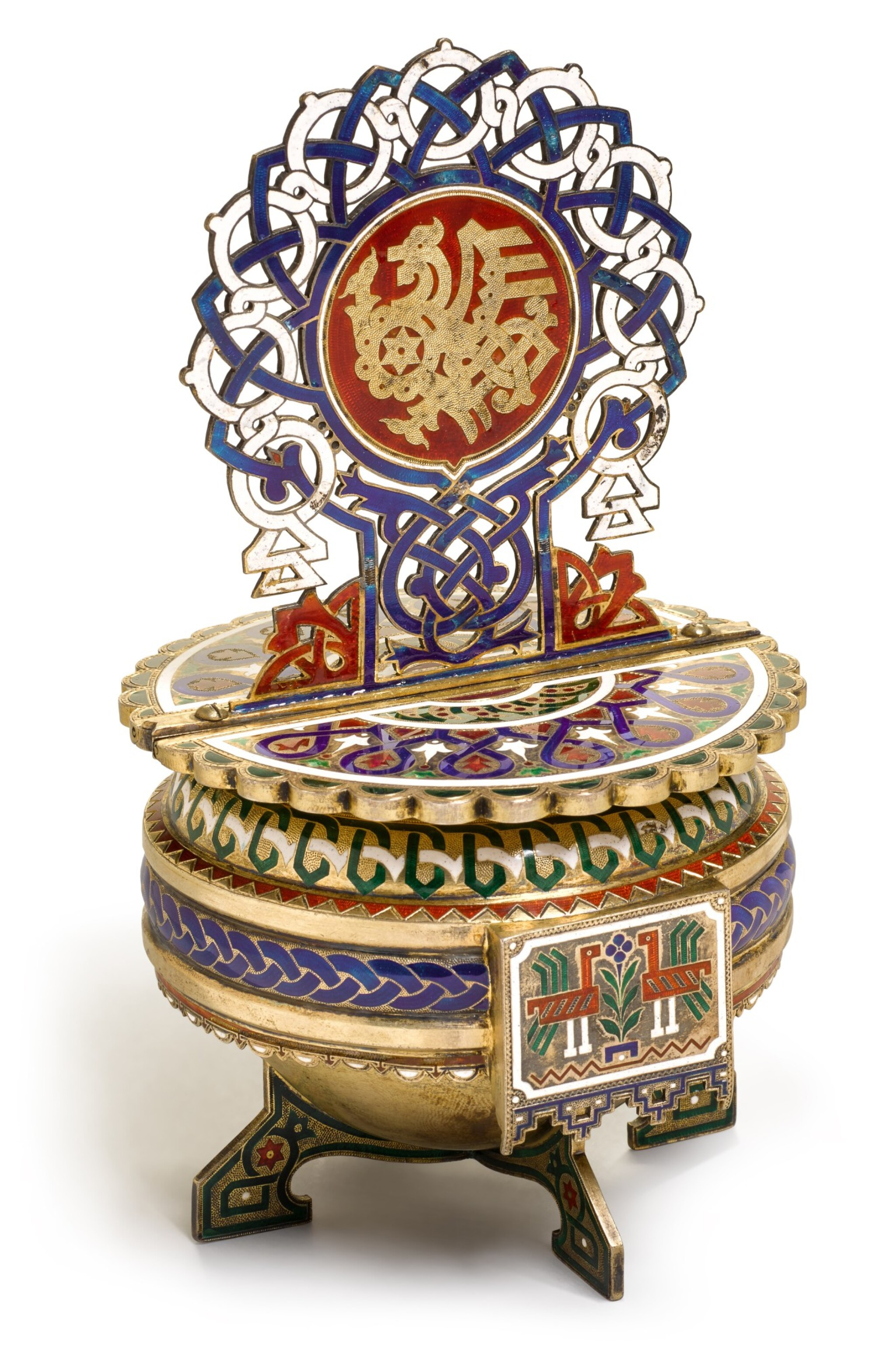 View full screen - View 1 of Lot 164. A silver-gilt and champlevé enamel salt throne, A.M. Postnikov partnership, Moscow, 1877.