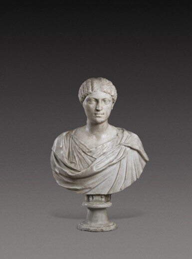View 1. Thumbnail of Lot 72. A Roman Marble Portrait Bust of a Woman, Reign of Agrippina, circa A.D. 20-40.