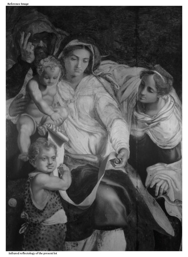 View 5. Thumbnail of Lot 118. ATTRIBUTED TO DANIELE RICCIARELLI, CALLED DA VOLTERRA   THE HOLY FAMILY WITH THE YOUNG SAINT JOHN THE BAPTIST AND SAINT CHRISTINE.