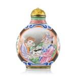 A Canton Enamel 'European Subject' Snuff Bottle Mark and Period of Qianlong | 清乾隆 銅胎廣東畫琺瑯西洋人物圖鼻煙壺 《乾隆年製》款