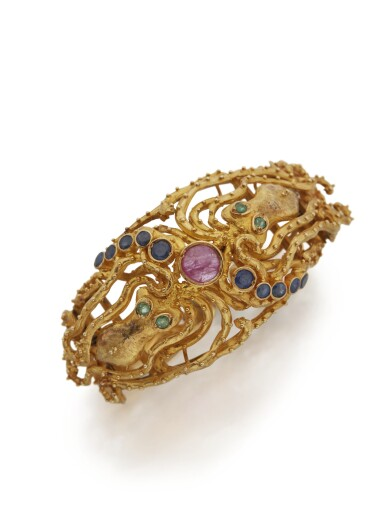 View 1. Thumbnail of Lot 105. GOLD, RUBY, SAPPHIRE AND EMERALD CUFF-BRACELET, ZOLOTAS.