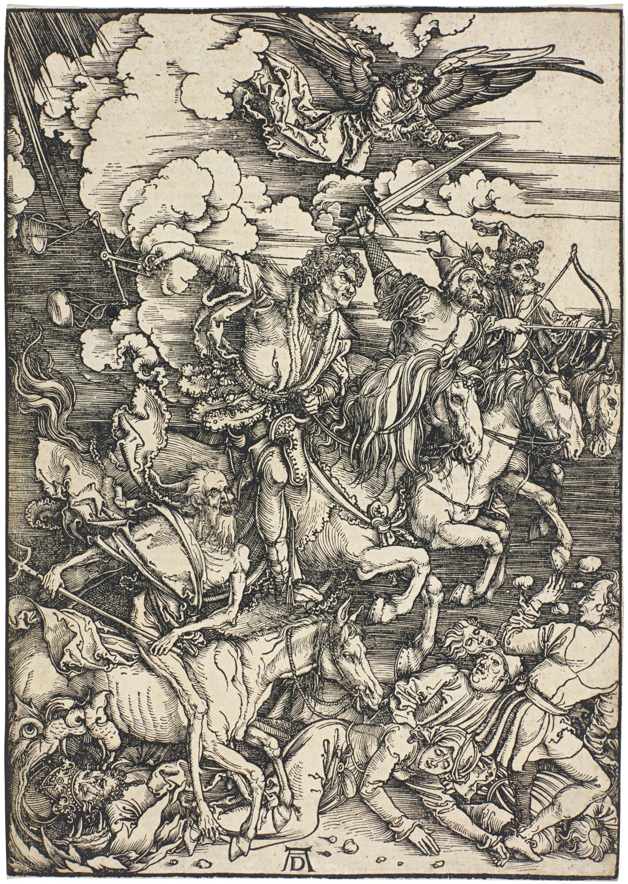 View full screen - View 1 of Lot 21. ALBRECHT DÜRER  |  THE FOUR HORSEMEN OF THE APOCALYPSE (B. 64; M., HOLL. 167).