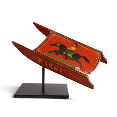 AMERICAN RED AND POLYCHROME PAINT-DECORATED WOOD MINIATURE SLED, AMERICA, CIRCA 1870