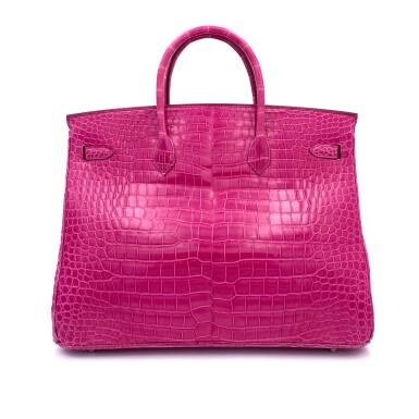 View 3. Thumbnail of Lot 304. Fuchsia Birkin 40cm in Shiny Porosus Crocodile with Palladium Hardware, 2009.