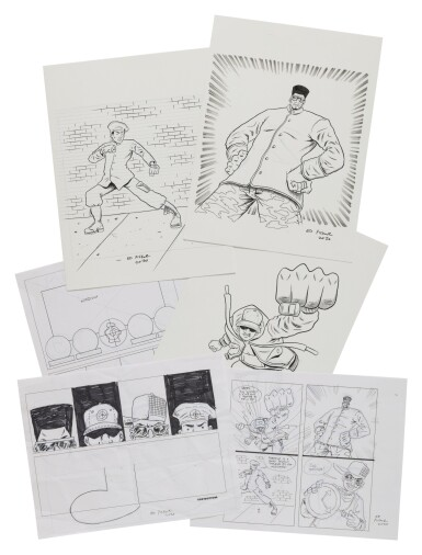 View 6. Thumbnail of Lot 41. ED PISKOR | Original artwork & designs for Public Enemy action figures, w/ original set of action figures.