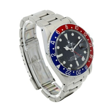 View 3. Thumbnail of Lot 101. ROLEX   REFERENCE 1675 GMT-MASTER 'PEPSI' A STAINLESS STEEL AUTOMATIC DUAL TIME WRISTWATCH WITH DATE AND BRACELET, CIRCA 1970.
