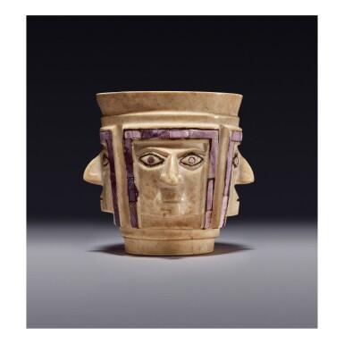 WARI STONE CUP OF FOUR FACES MIDDLE HORIZON, CIRCA AD 700-1000