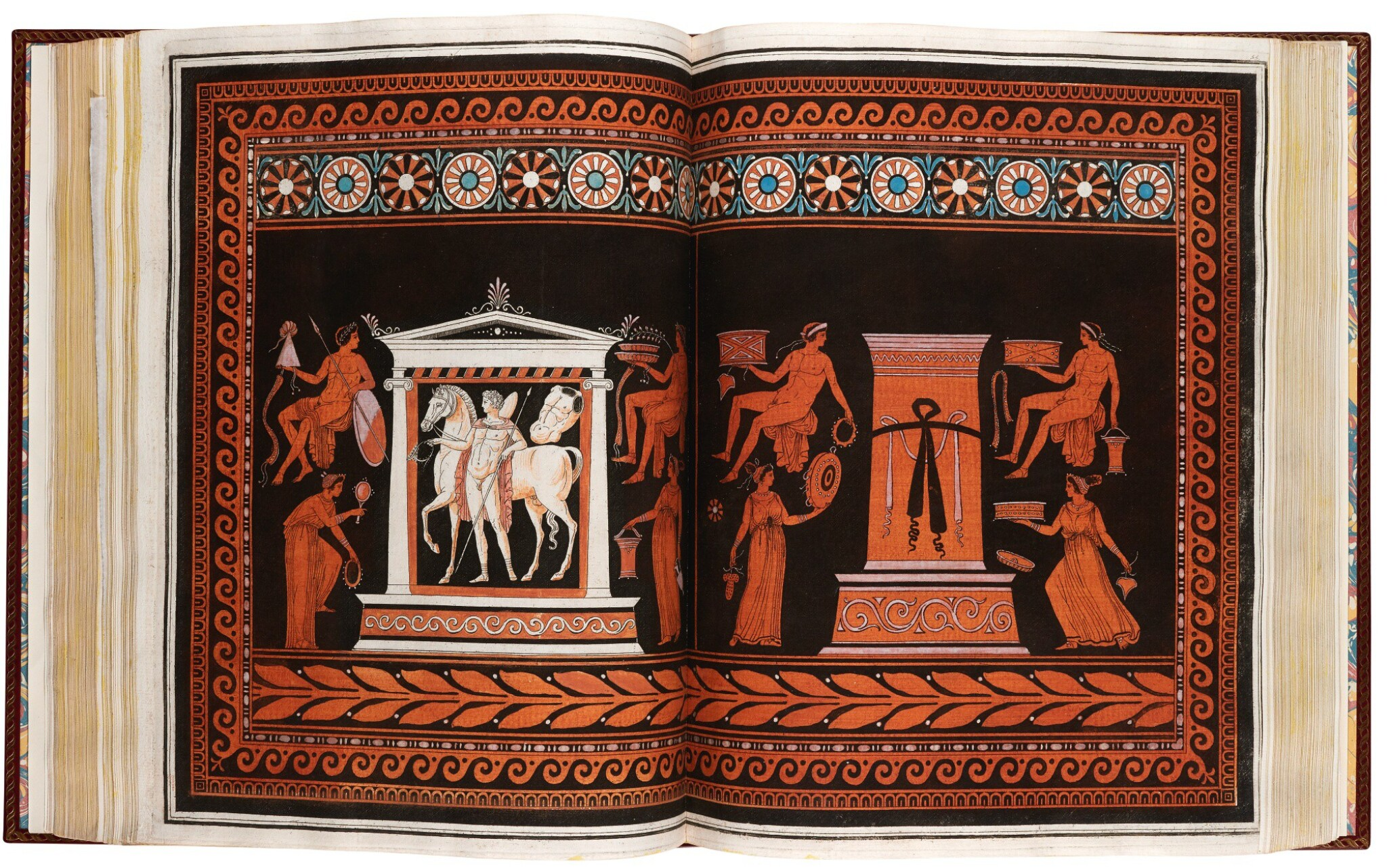View full screen - View 1 of Lot 54. Hamilton and d'Hancarville. Collection of Etruscan, Greek, and Roman Antiquities. [1766-67]. 4 volumes. red morocco.