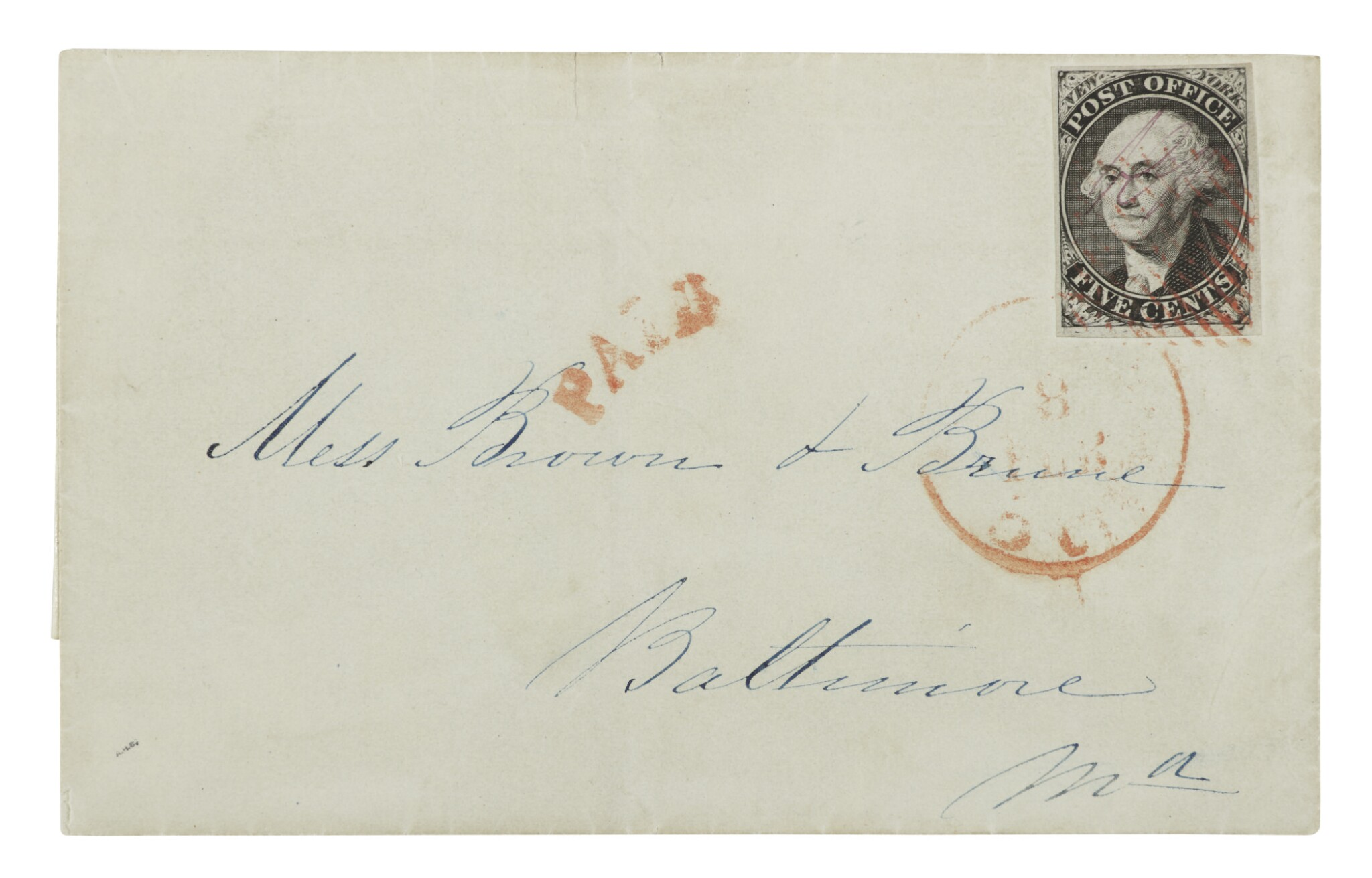 View full screen - View 1 of Lot 11. Postmaster's Provisional, New York, NY. 1847 5c Black on gray wove paper (9X3).