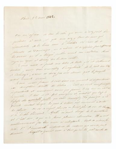 """View 2. Thumbnail of Lot 145. Lettre autographe, à Stendhal. Paris 25-28 mai [1832]. 3 p.1/2. Mérimée lui décrit ses soirées """"spermatiques""""."""