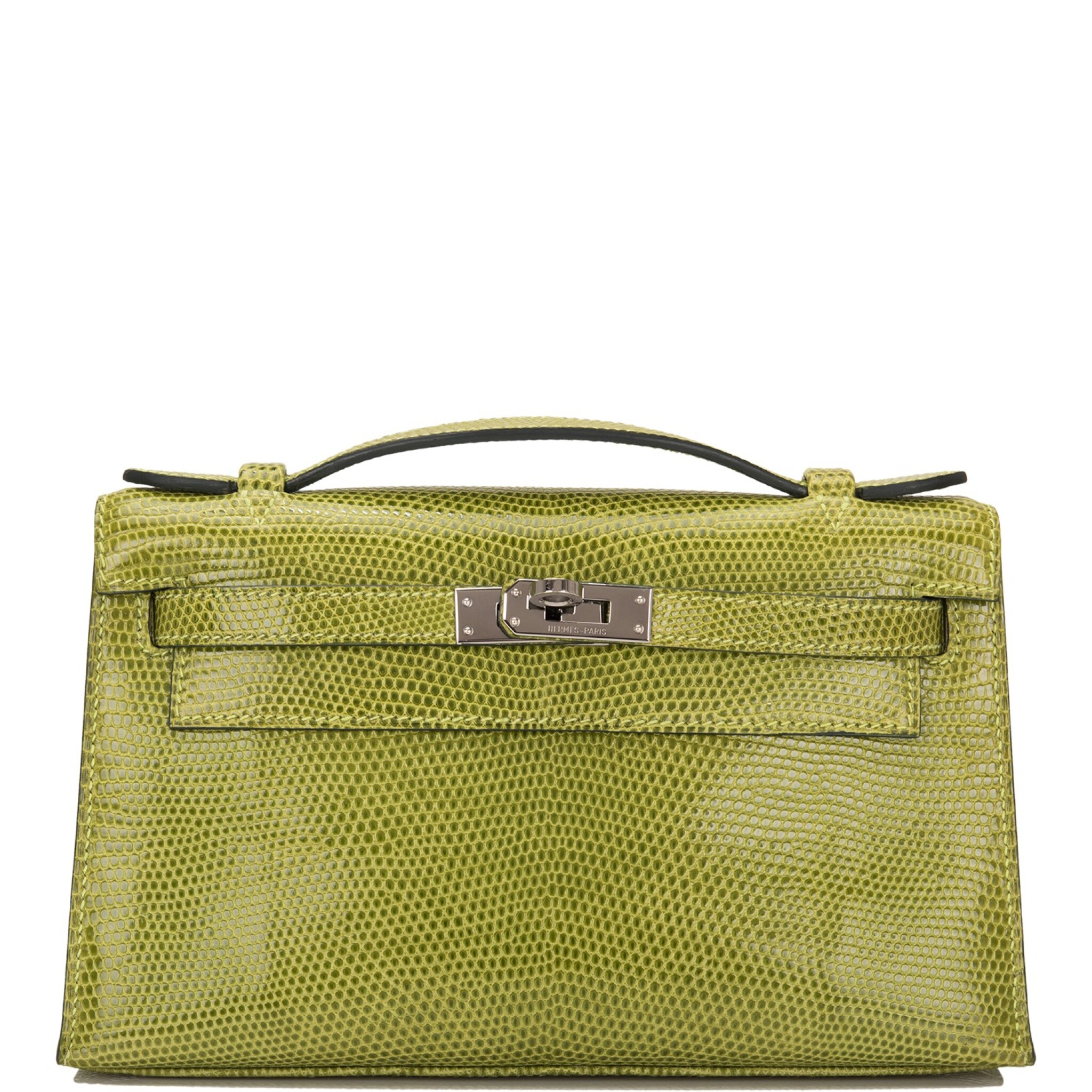 View full screen - View 1 of Lot 17. Hermès Vert Anis Lizard Mini Kelly Pochette.