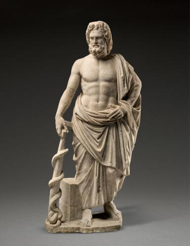 View 1. Thumbnail of Lot 232. A ROMAN MARBLE FIGURE OF ASKLEPIOS, CIRCA 2ND CENTURY A.D..