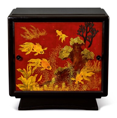 View 1. Thumbnail of Lot 2031. Truong Van Thanh | A lacquer cabinet with a panel decorated with fish 漆木櫃, 畫板彩繪金魚.