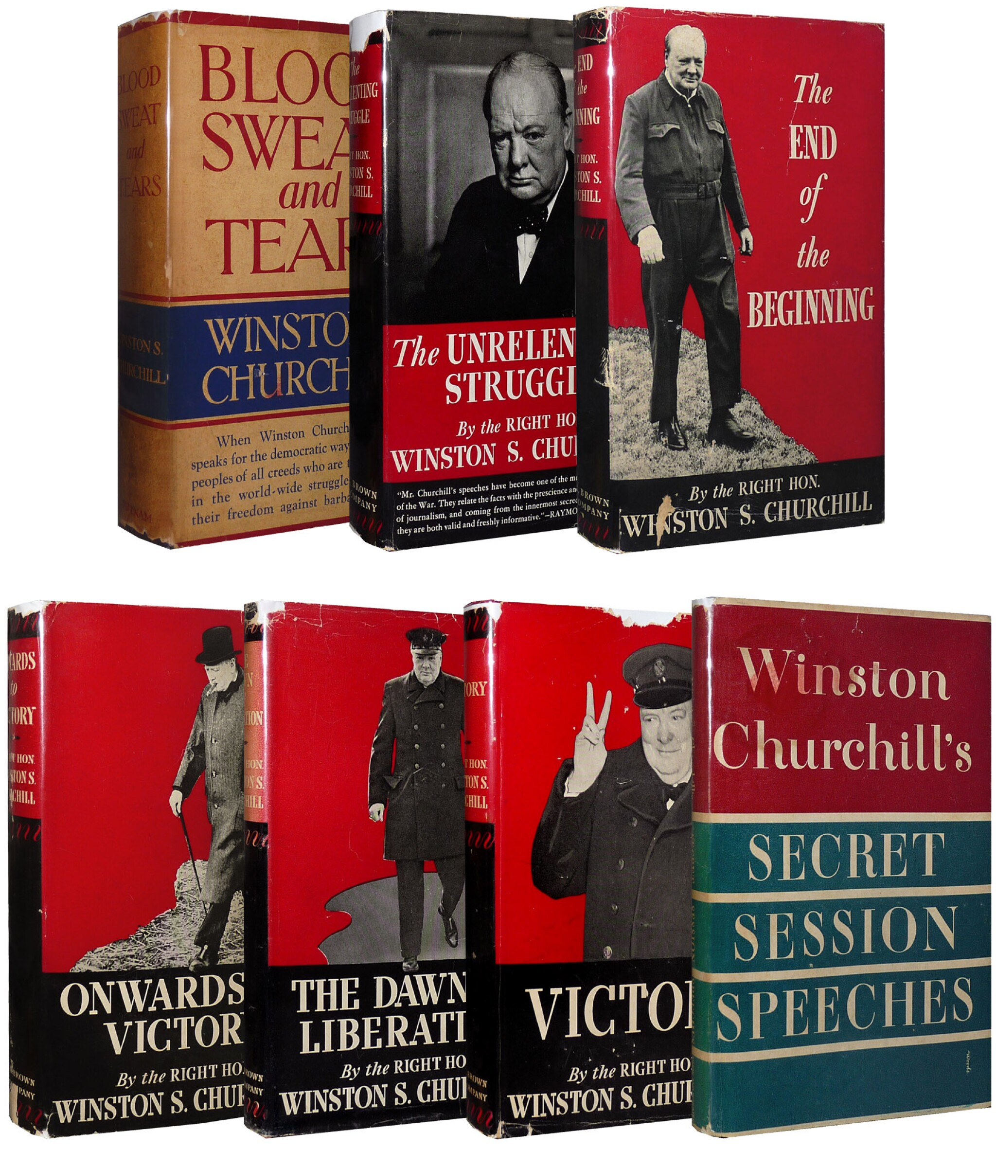 View full screen - View 1 of Lot 54. Winston S. Churchill | The War Speeches. New York: G.P. Putnam Sons; Little, Brown and Co.; Simon and Schuster, 1941-1946 .