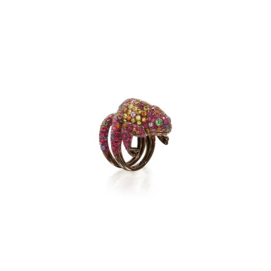 View 1. Thumbnail of Lot 144. GEM-SET 'MASY' RING, BOUCHERON, FRANCE.