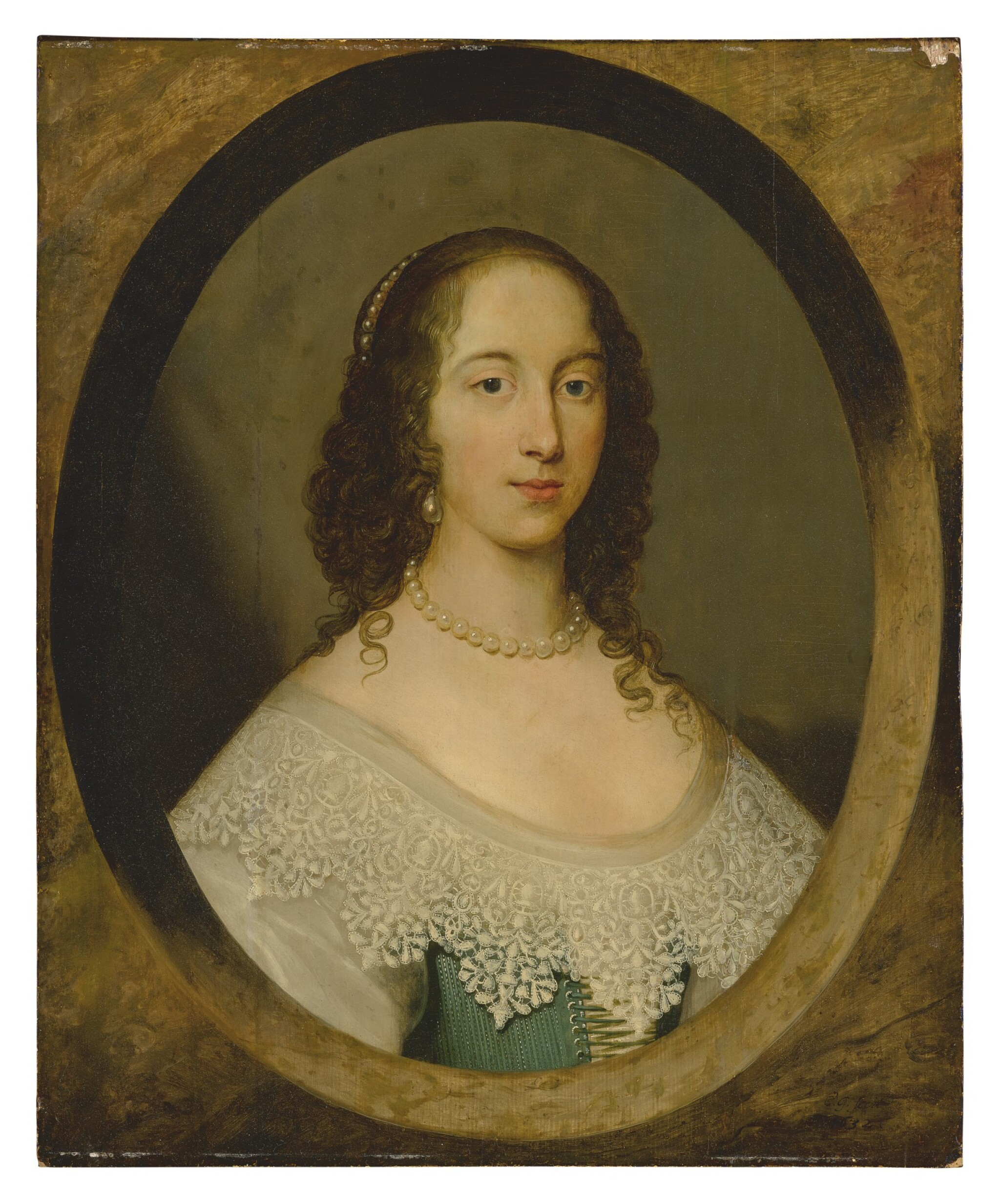 View full screen - View 1 of Lot 582. ATTRIBUTED TO CORNELIUS JOHNSON | PORTRAIT OF A LADY, BUST LENGTH, IN A PAINTED OVAL.