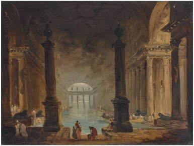 View 1. Thumbnail of Lot 31. HUBERT ROBERT | VIEW OF A ROMAN BATH WITH FIGURES IN THE FOREGROUND .