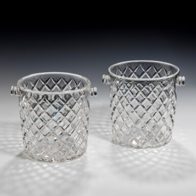 View 1. Thumbnail of Lot 99. A NEAR PAIR OF GLASS CHAMPAGNE BUCKETS, 20TH CENTURY.