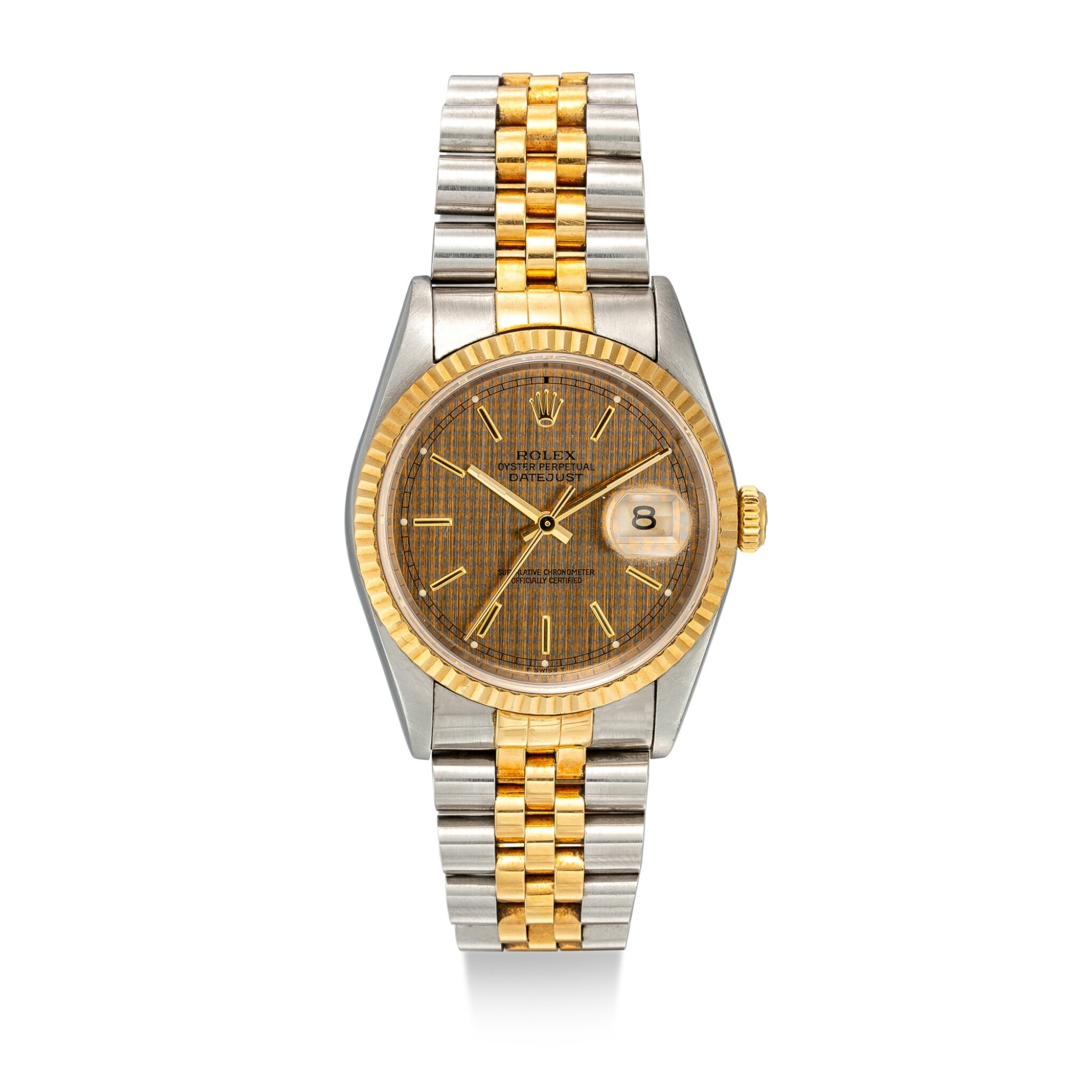 View full screen - View 1 of Lot 1106. ROLEX | DATEJUST, REFERENCE 16233 A YELLOW GOLD AND STAINLESS STEEL WRISTWATCH WITH DATE AND BRACELET, CIRCA 1994.