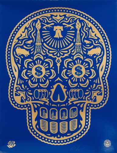 SHEPARD FAIREY (OBEY GIANT) | POWER & GLORY DAY OF THE DEAD SKULL (BLUE)