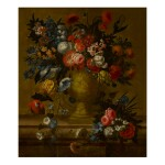 JAN BAPTIST BOSSCHAERT | A STILL LIFE OF FLOWERS IN A GILT VASE WITH A PARROT NEARBY, ALL ATOP A STONE LEDGE