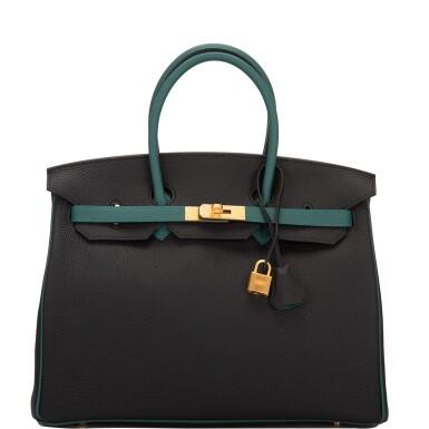 View 1. Thumbnail of Lot 31. Hermès Special Order Bicolor Black and Malachite Togo Birkin 35cm BGHW.