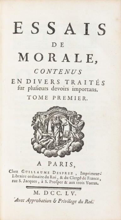 View 2. Thumbnail of Lot 84. Essais de morale... 1755-1768. 24 vol. in-12. Maroquin rouge aux armes de la comtesse de Provence.