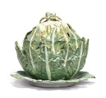 A CONTINENTAL FAIENCE CAULIFLOWER TUREEN, COVER AND STAND, LATE 18TH CENTURY