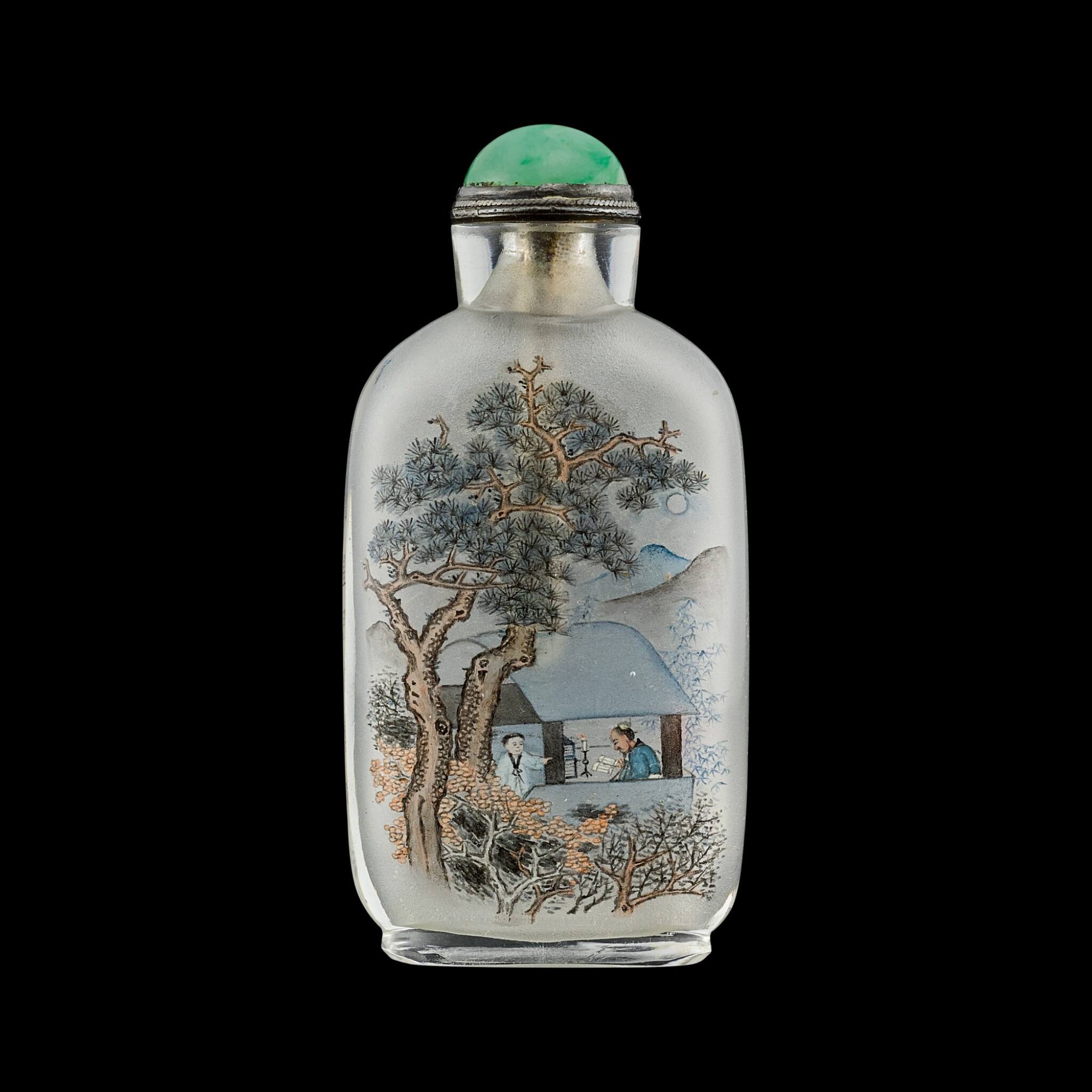 View full screen - View 1 of Lot 1085. An inscribed inside-painted glass 'scholar' snuff bottle By Ma Shaoxuan, circa 1900 | 約1900年 馬少宣作秋聲賦圖鼻煙壺.