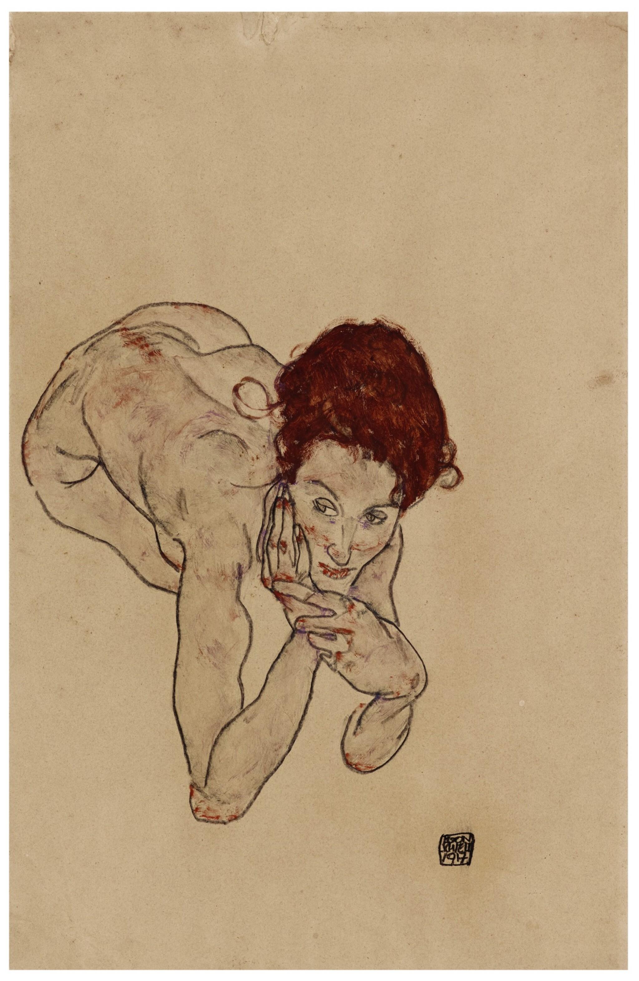 View full screen - View 1 of Lot 1018. Kauernder weiblicher Akt (Crouching Female Nude).