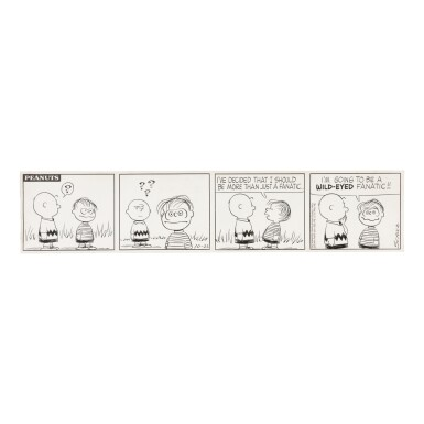 SCHULZ, CHARLES | Original Four-Panel Peanuts Daily Comic Strip Signed by Schulz