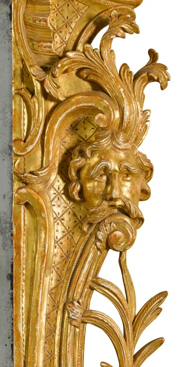 View 4. Thumbnail of Lot 67. A George II carved giltwood wall mirror, probably Irish, mid-18th century.