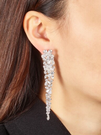 View 1. Thumbnail of Lot 1070. 'Carissa' Pair of Diamond Pendent Earrings | 格拉夫| 'Carissa' 鑽石耳墜一對 (鑽石共重約20.20克拉).