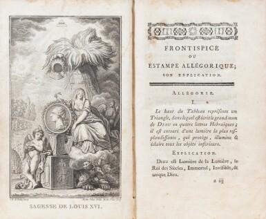 View 2. Thumbnail of Lot 85. Sagesse de Louis XVI. 1775. 2 vol. Rel. aux armes des comtesses de Provence et d'Artois..