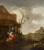 Figures outside a tavern with a woman sewing, travellers on a bridge beyond