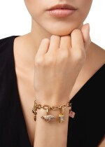 GOLD AND GEM-SET CHARM BRACELET, CARTIER