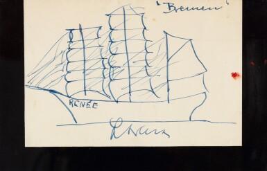 Celine Bateau Trois Mats Dessin Original Encre Bleue Vers 1950 Livres Et Manuscrits2020 Sotheby S