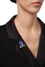 SAPPHIRE AND DIAMOND JABOT PIN, CARTIER | 藍寶石配鑽石別針,卡地亞