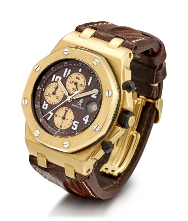 View 2. Thumbnail of Lot 167. AUDEMARS PIGUET | ROYAL OAK OFFSHORE, REFERENCE 26007BA2.OO.D088CR.01, A LIMITED EDITION YELLOW GOLD CHRONOGRAPH WRISTWATCH WITH DATE, CIRCA 2004.