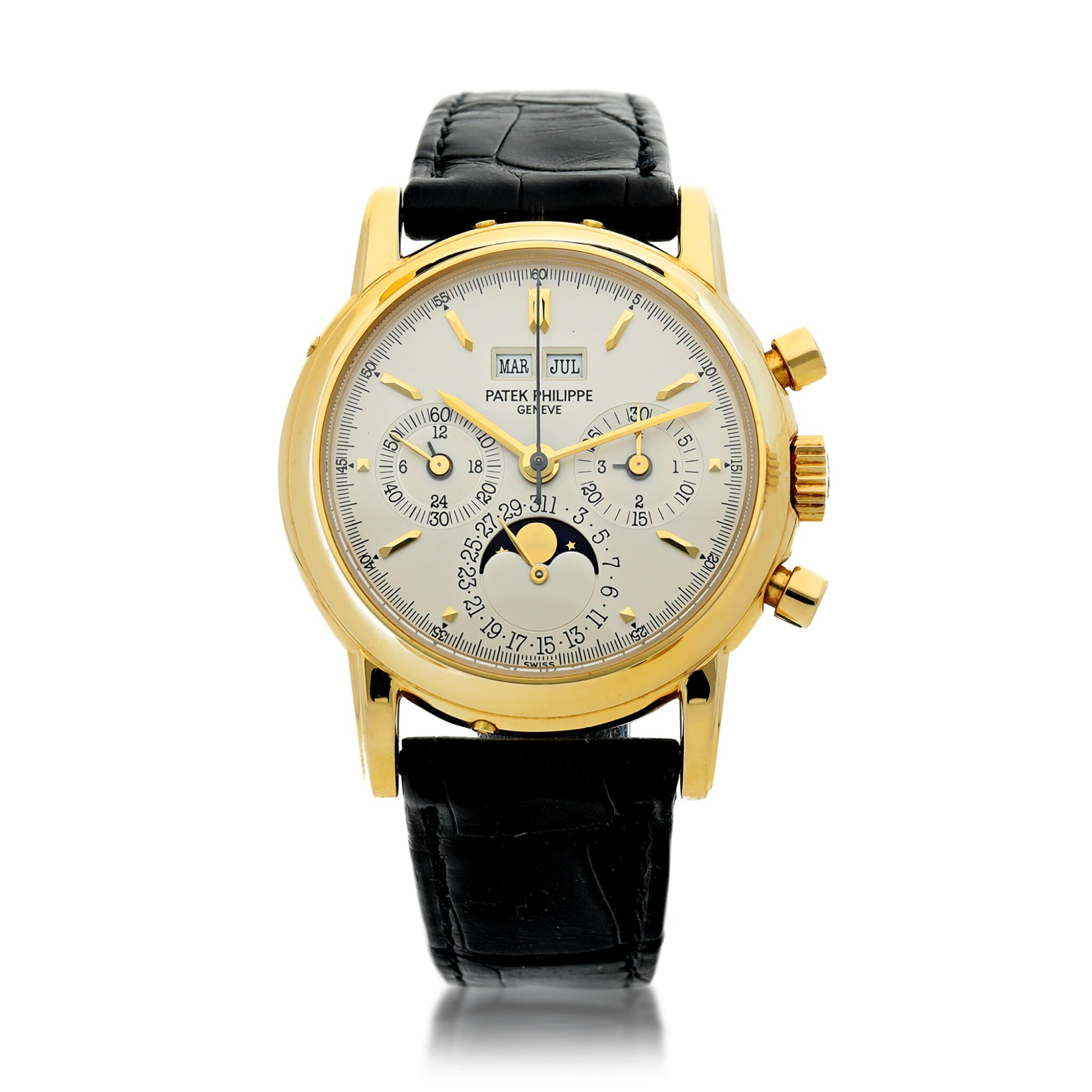 View full screen - View 1 of Lot 30. PATEK PHILIPPE | REFERENCE 3970E  A YELLOW GOLD PERPETUAL CALENDAR CHRONOGRAPH WRISTWATCH WITH MOON PHASES AND LEAP YEAR INDICATION, MADE IN 1992.